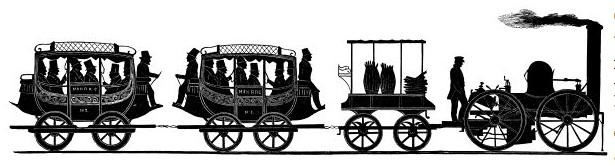 Silhouette artist William Brown was a passenger on the 1831 railroad journey. After this event he made this piece depicting the locomotive and first two cars.