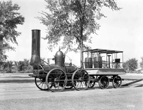 This replica of the Dewitt Clinton locomotive was made for the 1893 Columbian Exposition in Chicago. It is now at The Henry Ford museum in Dearborn, Mich. Photo from the collections of The Henry Ford.