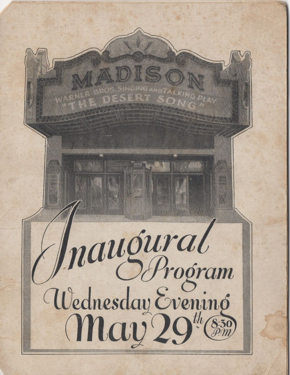 The program from the Madison's opening night, May 29, 1929.