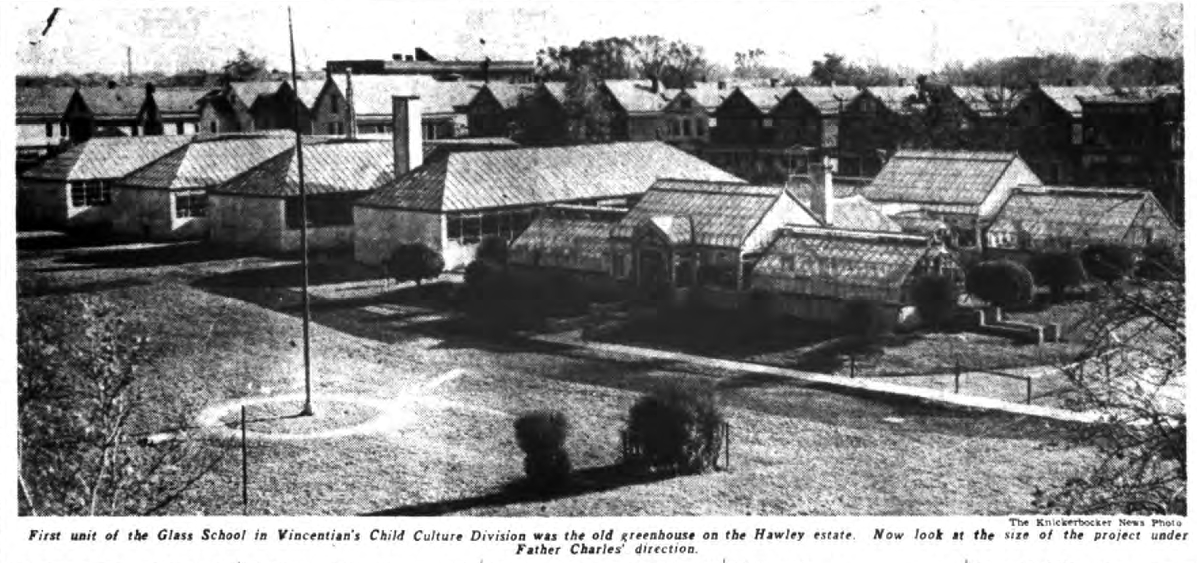 This 1938 Knickerbocker News photograph gives an overview of the glass school project.