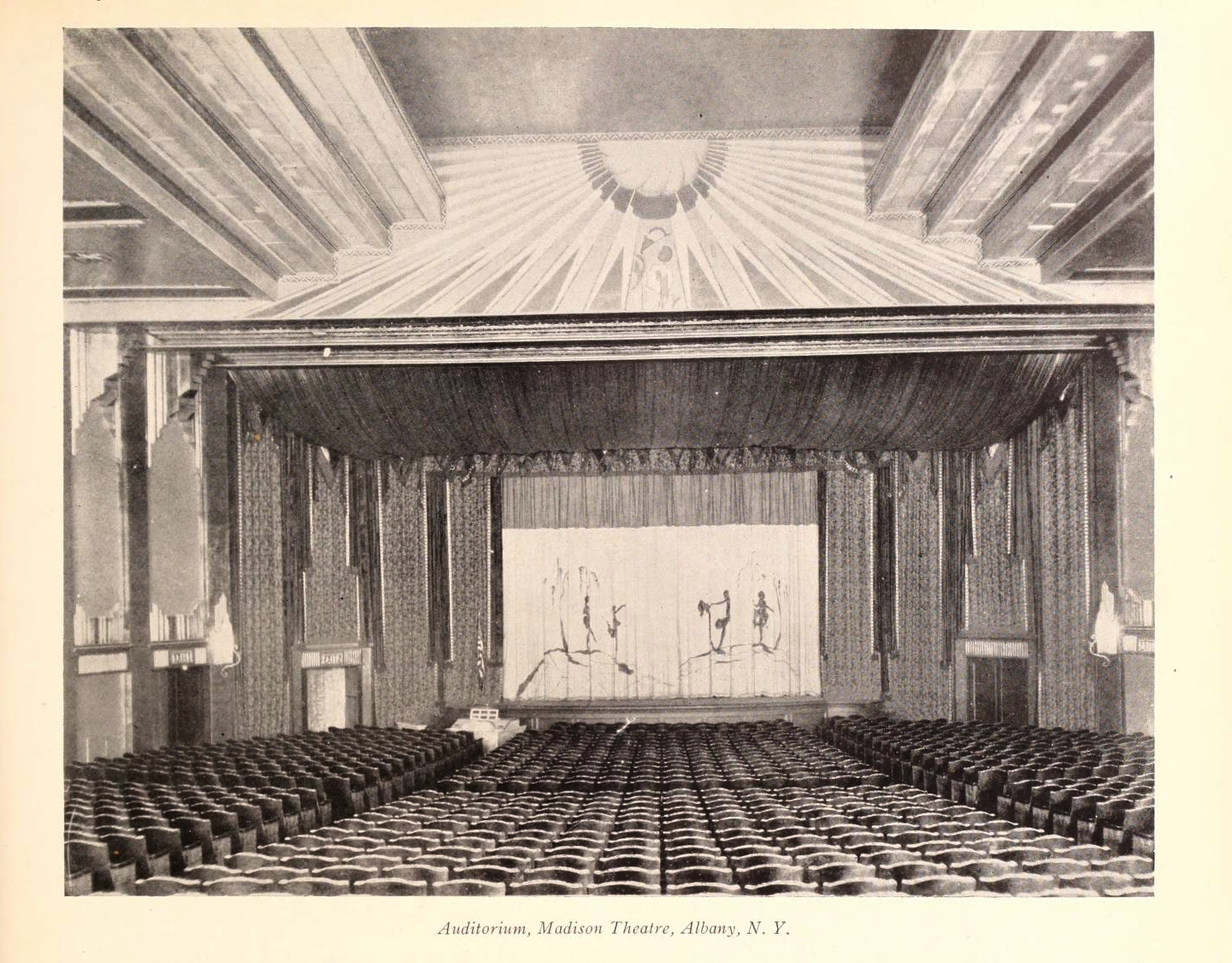 "The auditorium, as seen in ""Motion Picture News,"" July 6, 1929."