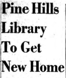 Knickerbocker News headline from January 18, 1951. The Pine Hills library branch had previously been in School 4, corner of Madison and Ontario; climbing enrollment prompted the school to claim that space.