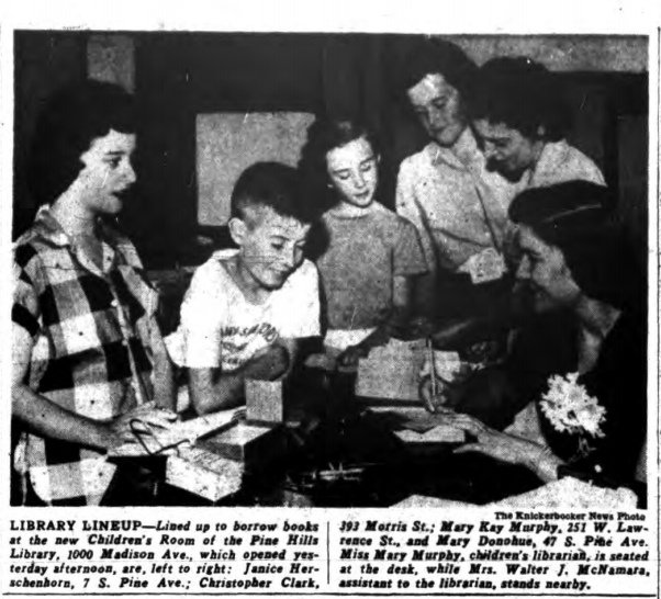 Knickerbocker News photo from Sept. 4, 1952, on the opening of the Children's Room. Click on the photo to read its original caption.